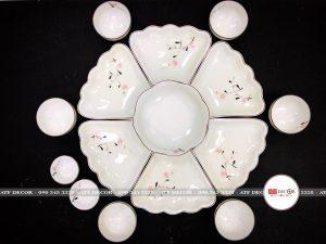 Bộ bát đĩa hoa mặt trời bát tràng đào hồng - ATFD